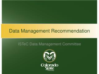 Data Management Recommendation