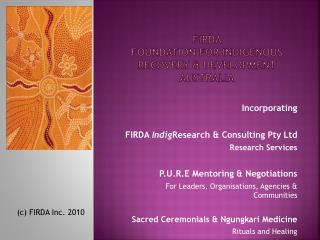 FIRDA  Foundation for Indigenous Recovery & development  australia