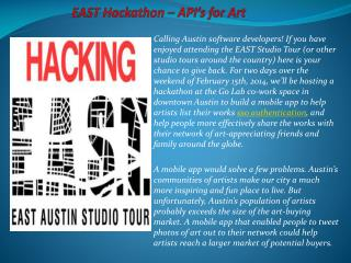 EAST Hackathon – API's for Art