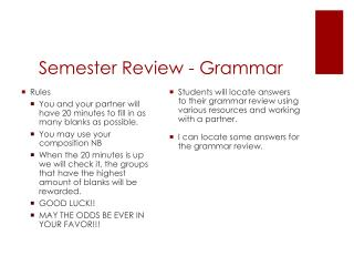Semester Review - Grammar