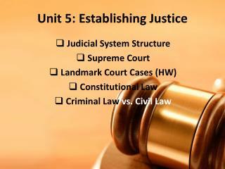 Unit 5: Establishing Justice