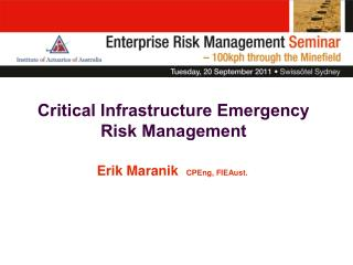 Critical Infrastructure Emergency Risk Management