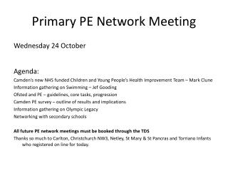 Primary PE Network Meeting