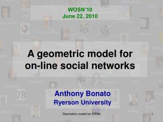 A geometric model for  on-line social networks