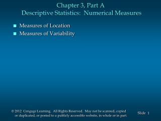 Chapter 3, Part A  Descriptive Statistics:  Numerical Measures