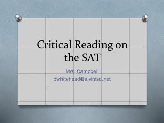 Critical Reading on the SAT