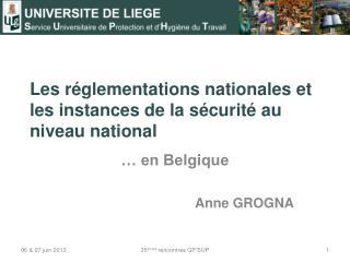 Les r�glementations nationales et les instances de la s�curit� au niveau national