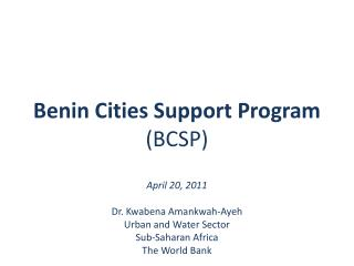 Benin Cities Support Program ( BCSP )