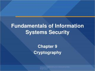 Fundamentals of  Information Systems Security  Chapter  9 Cryptography