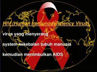 HIV (Human Immunodeficiency Virus),  virus yang  menyerang system  kekebalan tubuh manusia