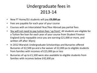 Undergraduate fees in  2013-14