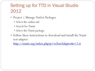 Setting up for TTD in Visual Studio 2012