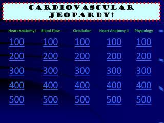 Cardiovascular  Jeopardy !