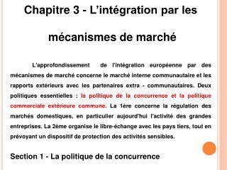 Chapitre 3 - L'intégration par les  mécanismes de marché