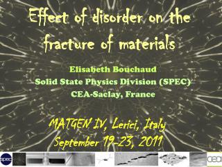 Effect  of  disorder  on the fracture of  materials