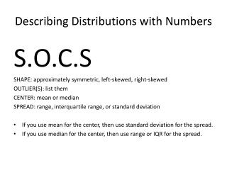 Describing Distributions with Numbers
