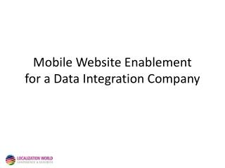 Mobile Website Enablement  for a Data Integration Company