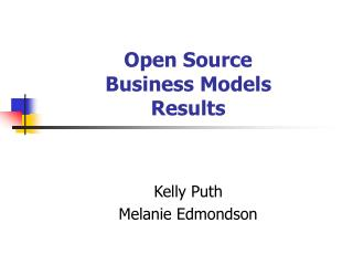 Open Source Business Models Results