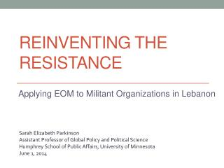 Reinventing the Resistance