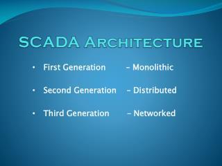 SCADA Architecture