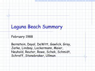Laguna Beach Summary