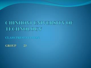 CHINHOYI UNIVERSITY OF TECHNOLOGY