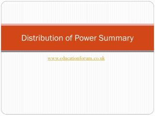 Distribution of Power Summary