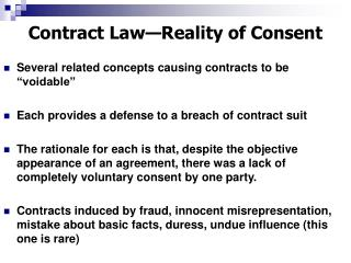 Contract Law Reality of Consent