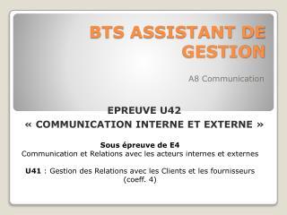 BTS ASSISTANT DE GESTION
