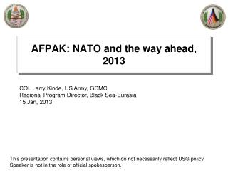 AFPAK: NATO and the way ahead, 2013