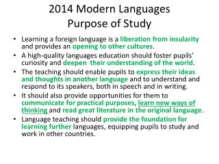 2014 Modern Languages Purpose of Study