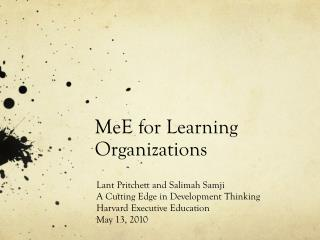 MeE for Learning Organizations