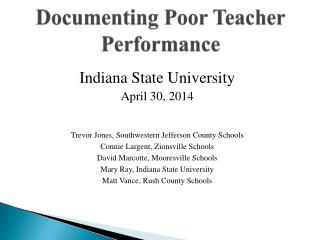 Documenting Poor Teacher Performance