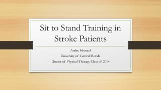 Sit to Stand Training in Stroke Patients