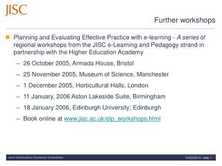 Further workshops