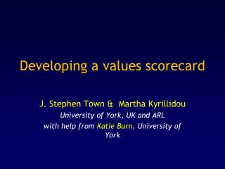 Developing a values scorecard