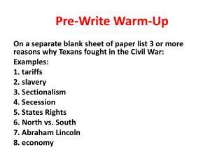 Pre-Write Warm-Up