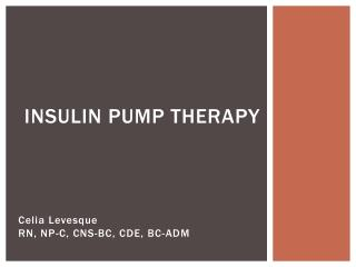 Insulin Pump Therapy
