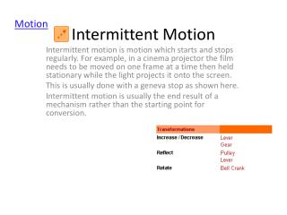 Intermittent Motion