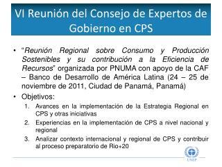 VI Reunión del Consejo de Expertos de Gobierno en CPS