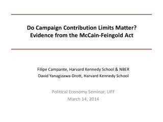 Do Campaign Contribution Limits Matter?  Evidence from the McCain-Feingold Act