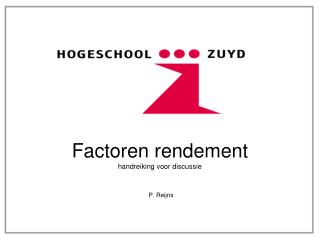 Factoren rendement handreiking voor discussie