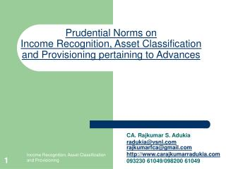 Prudential Norms on Income Recognition
