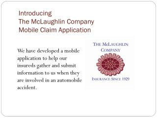 Introducing The McLaughlin Company Mobile Claim Application