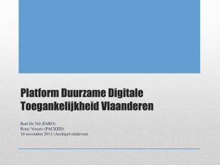 Platform Duurzame Digitale Toegankelijkheid Vlaanderen