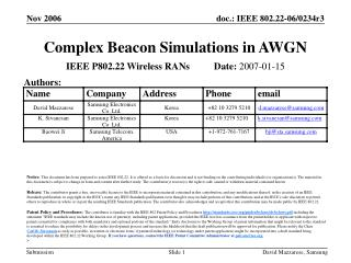 Complex Beacon Simulations in AWGN