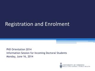 Registration and Enrolment