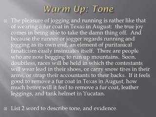 Warm Up: Tone
