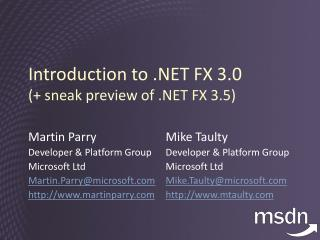 Introduction to .NET FX 3.0 (+ sneak preview of .NET FX 3.5)