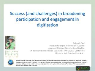 Success (and challenges) in broadening participation and engagement in digitization